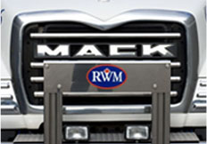 A Mack truck grille with RWM logo